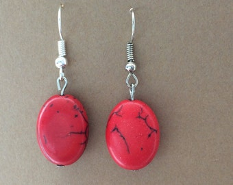 Lava red turquoise earrings