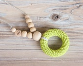 Nursing necklace with a teething ring - lime green - nursing necklace breastfeeding statement jewelry - free shipping