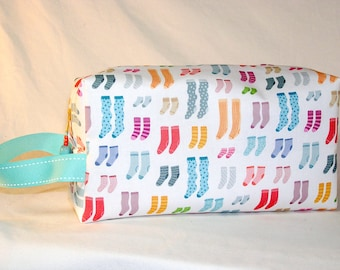 Colorful Socks with Aqua Stitched Ribbon Project Bag - Premium Fabric