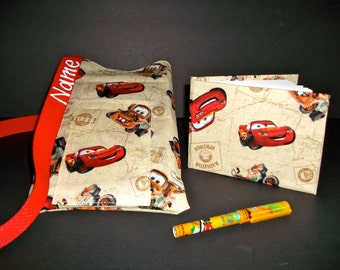 Disney Pixar Cars autograph book bag with book, bag and pen Personalized for FREE adjustable strap for Disney pin collection