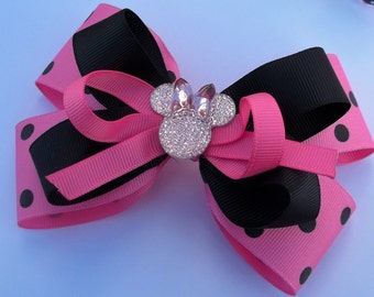 Hot pink and polka dot boutique Minnie hair bow for girls and toddlers