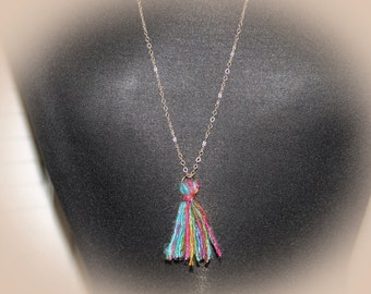 Bohemian Tassel Necklace. Jewel Tone Colors. Long Gold Chain