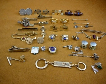 Keychain, 16 tie or shirt bars tie tacks, 12 pairs cufflinks 3 tack or clasp pins 10 commandments, ship M.L. unicorn, Hennessy Cognac (CL-8)