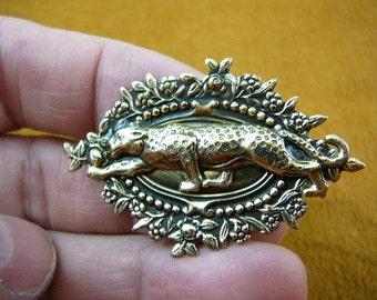 Leopard Cheetah hunting wild cat big I love leopard pin pendant brass lover B-Leop-52