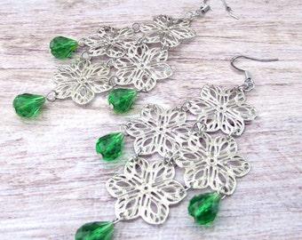 Womens Green Crystal Earrngs - Boho Filigree Earrings - Womens Beaded Fringe Earrings - Womens Long Gypsy Earrings - Gypsy Earrings - Fringe