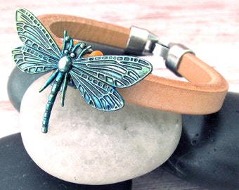 Bohemian Dragonfly Bracelet - Ladies Leather Bracelet - Dragonfly Bracelet - Leather Layering Bracelet - Stacking Cuff - Insect Jewelry