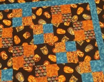 EGYPTIAN Handmade Quilt Top 45 X 45 Square Pharaohs Pyramids - Turquoise - Gold - Handmade