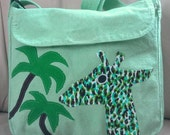 Custom order messenger bag with giraffe