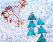 3 Triangles Verdigris Earrings