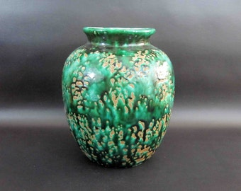 Vintage Mid Century Pottery Vase in Green and Brown. Circa 1950's.