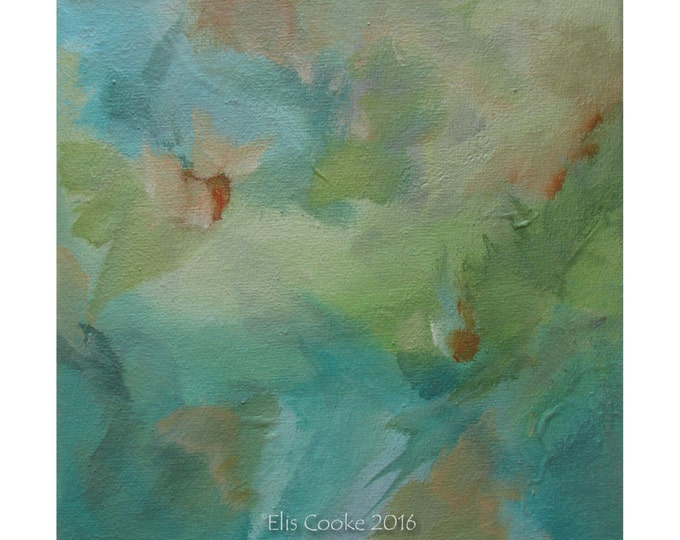 Abstract Expression Art Original Contemporary Painting turquoise green orange. Musing 128