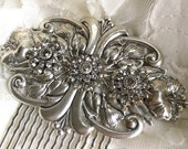 Gilded Lily Large Silver Tone Swarovski Crystal Hair Comb