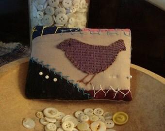 Primitive Antique Crazy Quilt Bird Pillow Pinkeep -  Sewing Treasure