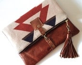Leather fold over clutch, fold over bag, fold over purse,  wool and Sienna Brown leather clutch with leather charm