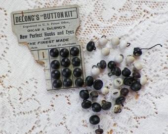 Destash Lot Vintge / Antique Black / White / Cream Shoe Buttons, Glass / Porcelain, Delong's Button Kit, Metal Shanks
