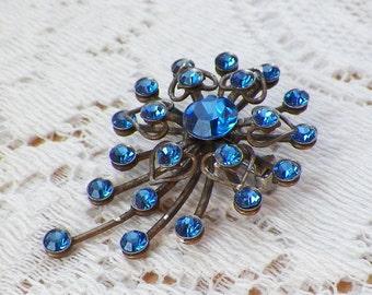 Vintage Cobalt Blue Rhinestone / Rhinestones Brooch / Pin / Broach, Metal Hearts, Heart Shaped, Something Blue