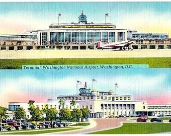 Washington DC Vintage Postcard - Washington National Airport (Unused)