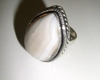 Natural Gemstone Ring, Botswana Agate Ring, Silver Ring, White Agate Ring, White Gemstone Ring