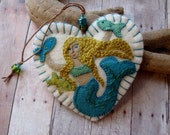 Mermaid Ornament - Made to Order Embroidered Fiber Art