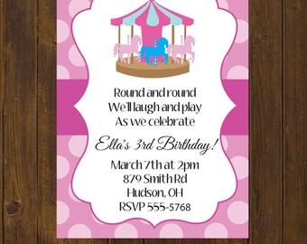 Carousel Birthday Invitation, Birthday Invitation, Carousel Birthday, Carnival Birthday, Pink Polka Dots, Polka Dots - Printable Invitation