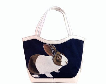 Sale Vegan Startled Dutch Rabbit tote bag - handpainted, navy blue and white medium shopping/beach/tote shoulder purse, vegan, one of a kind