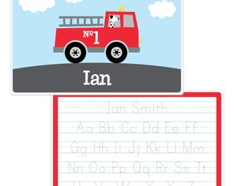 Personalized Firetruck Placemat - Kids Firetruck Placemat - Kids Placemat