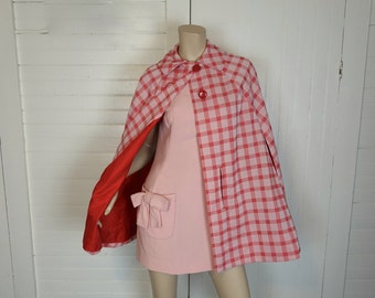 60s / 70s Cape in Red & Pink Checked- 1960s Mod- Plaid / Gingham- 1960s