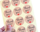36 Round Thank You Kraft Stickers/Seals - FREE SHIPPING with other purchase