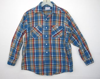 60s Vintage KING KOLE Colorful Cotton Plaid Med Weight Soft Guys Shirt M / Broken In Lumberjack Twill Flannel Medium / Excellent Fall Jacket