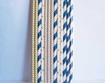 25 Blue Gold and Silver Stripe Paper Straw Mix with DIY Flag Topper