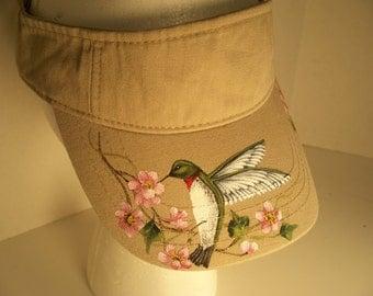 Women's Visor Biege Hand Painted Hummingbird Cherry Blossoms