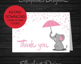 Thank You Card, Thank You Note, Elephant Baby Shower, girl, pink, baby, sprinkle, thankyou, Instant download, digital file, DIY printable