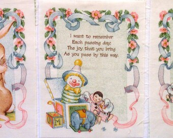 Vintage Baby Cotton Applique Quilt Blocks, Quilt Panels