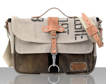 Beige Canvas Crossbody Bag, Laptop Messenger Bag, Recycled Belgian Military Post Bag, Top Handle Bag / Upcycled in Germany-2177