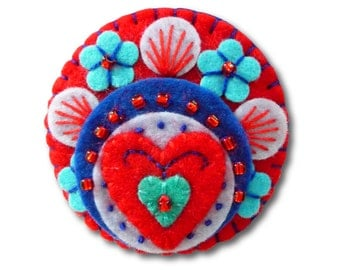 Heart to Heart -  Handmade Mini Felt Brooch - Red - Made to order