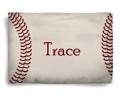 Stitched Baseball Design Pillow Covers- Red Stitches Graphics on Natural Background, Personalized - Standard or King Size