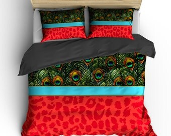 Personalized Custom  Peacock Feathers & Red Cheetah Bedding - Available Toddler Twin, Queen, King size and Duvet Cover and Comforter Options