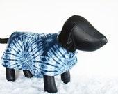 Blue Tie-Dyed Fleece Dog Jacket, Winter Dog Coat, Large Dog Coat, warm winter wear for Shih Tzu dogs, Pet Clothing