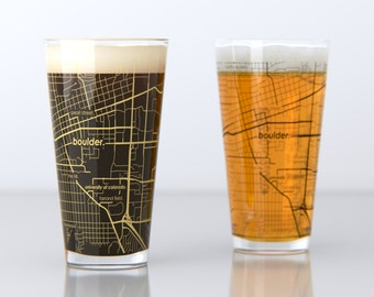 Boulder, CO - CU Boulder - College Town Pint Map Glasses