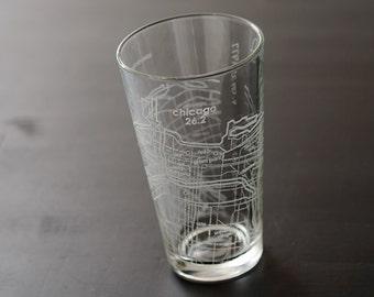 Chicago 26.2 Marathon Map Pint Glass