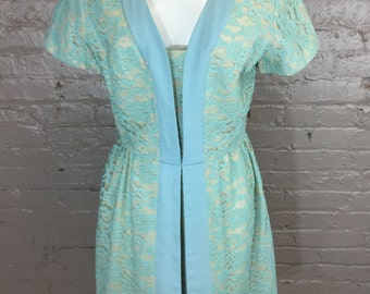Vintage Light Blue Lace Overlay Dress