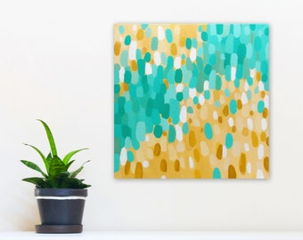 Abstract Wall Art, 12x12 Canvas Painting, White Aqua Gold Tan, Original Acrylic, 2/100 #100daysofcolorpalettes by Jessica Torrant
