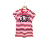 BONjour Tee - Boyfriend Fit Crew Neck Striped T-Shirt with Rolled Cuffs in Custom Red and White Stripe - Women's Size S M L XL 2XL