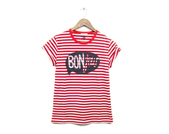 BONjour Tee - Boyfriend Fit Crew Neck Striped T-Shirt with Rolled Cuffs in Custom Red and White Stripe - Women's Size S-2XL