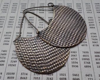 Bronze Hoop Earrings, Large Textural Modern Contemporary Sculptural Urban Hand Wrought Hoops, Metalsmith Artisan Hoops