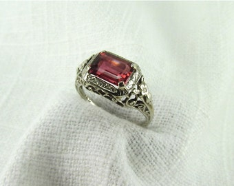 On Sale! Appraisal Value, 2500.  Circa 1950 Pink Tourmaline and 14KT White Gold Ring