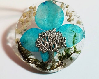 Tree Charm Real Blue White Flowers Green Moss Nature Pendant  Resin Necklace Tree Of Life Babies Breath  Earth Bohemian Jewelry