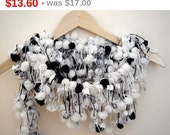 winter sale Curly Pompom Crochet Black White Long scarf neckwarmer cowl With White Metallic  Yarn