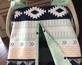 Tribal Aztec Baby Carseat Cover - Navy Light Green Mustard Mint Coral - All Cotton - Baby - Ready To Ship - Gender Neutral