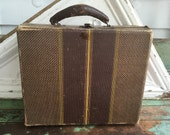 Antique Doll Child Suit Case storage Paper Brown with leather Handle
